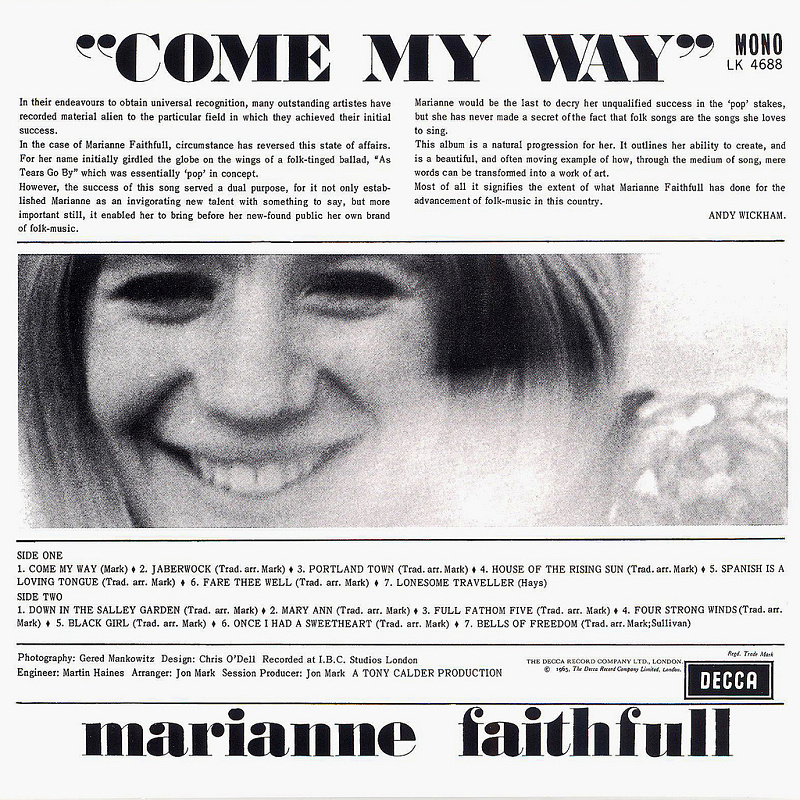 COME MY WAY (Decca) 1965 back