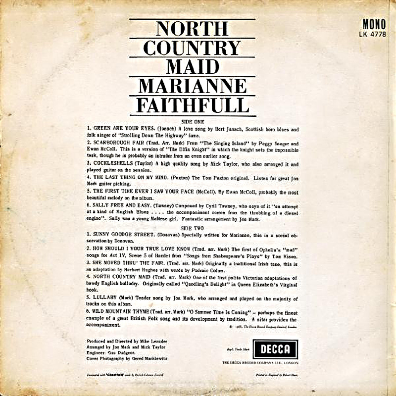 NORTH COUNTRY MAID (Decca) 1966 back