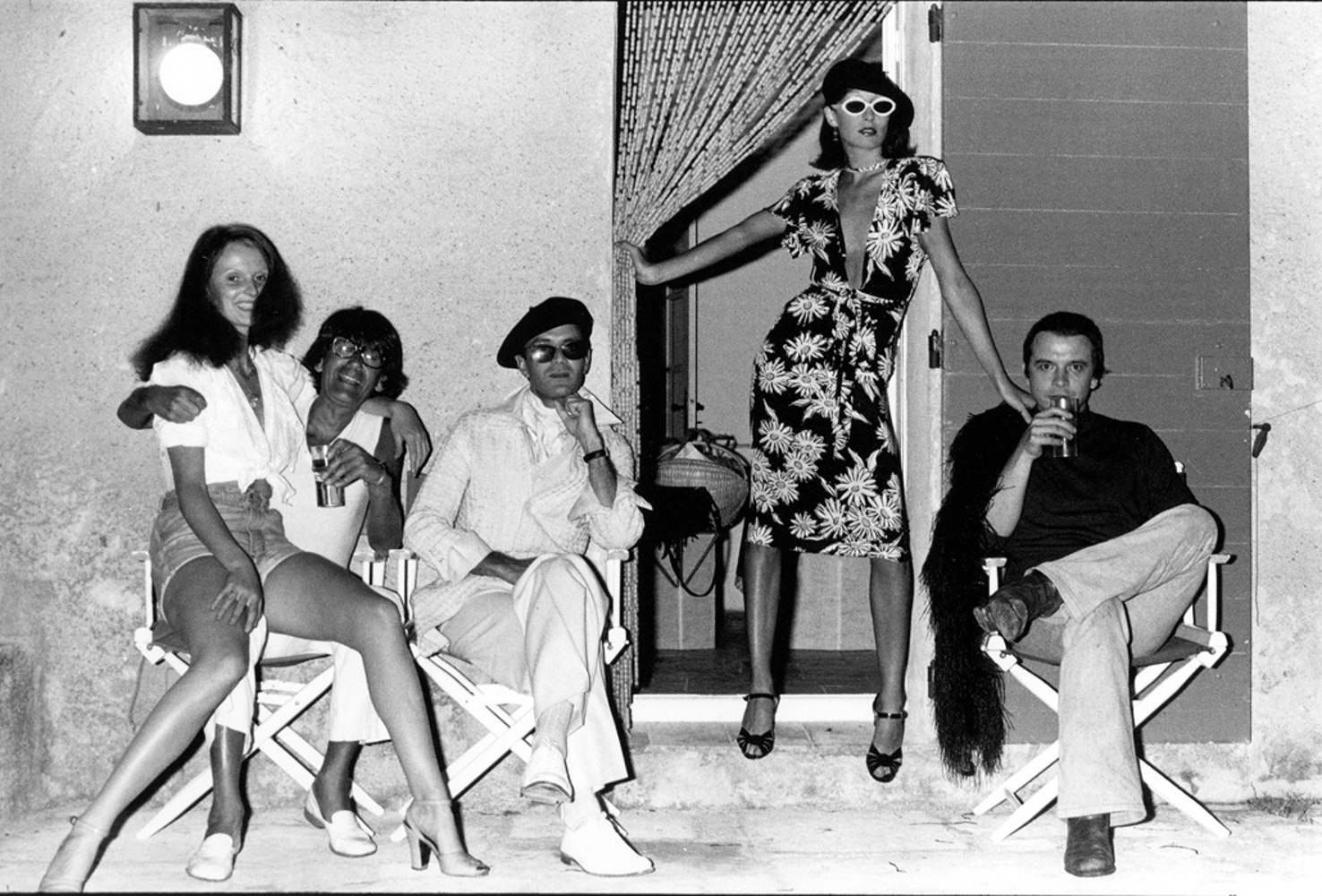 Grace Coddington, Helmut Newton, Manolo Blahnik, Anjelica Huston and David Bailey, Corsica / 1973